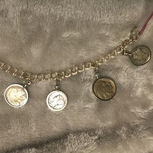 SS US Buffalo Nickel & Mercury Dime Charm Bracelet